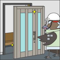 リフォーム用アルミ玄関扉の設置(カバー工法)工事